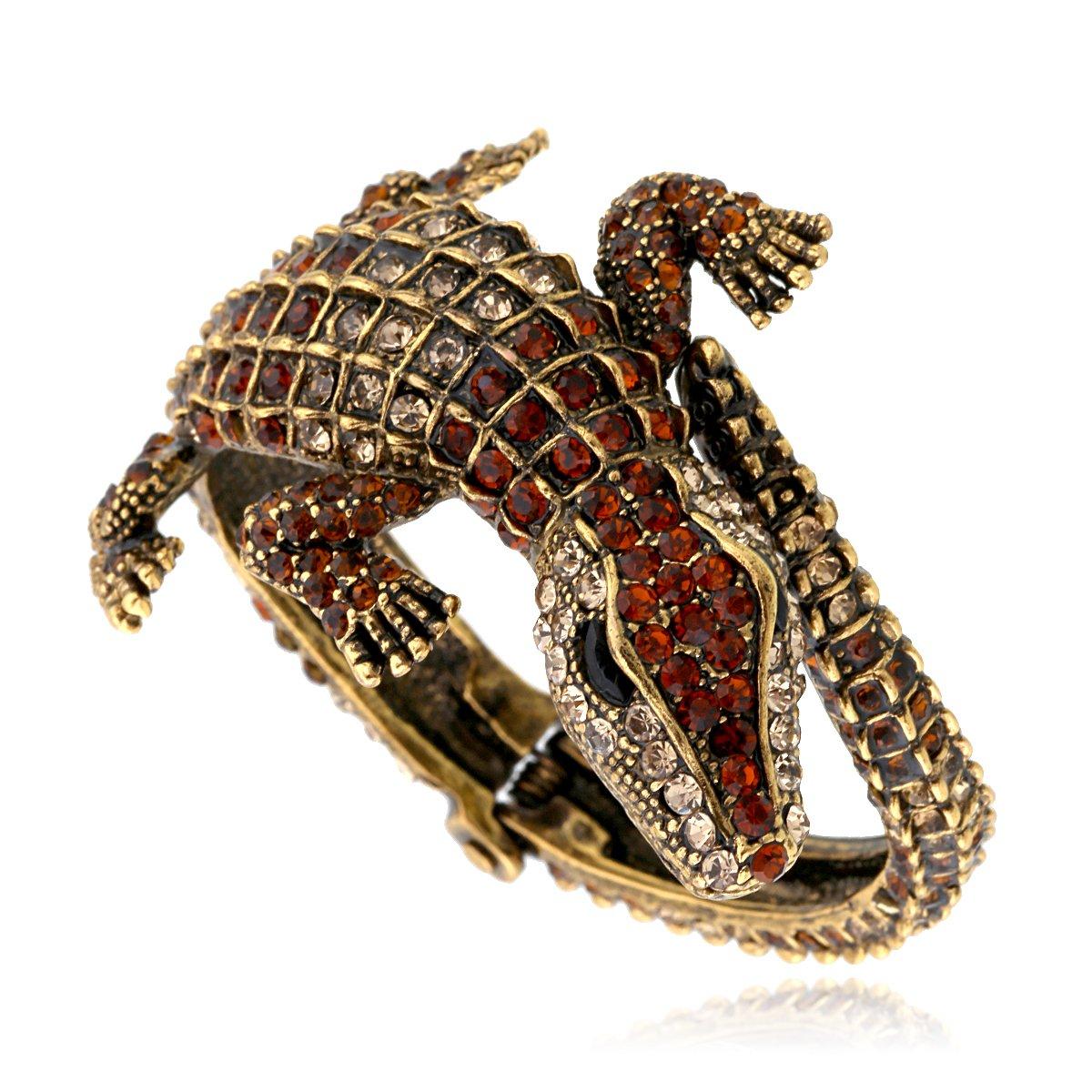 KAYMEN FASHION JEWELLERY Kaymen Jewelry Antique Gold Rhinestone Statement Cuff Bracelets Animal Style for Women