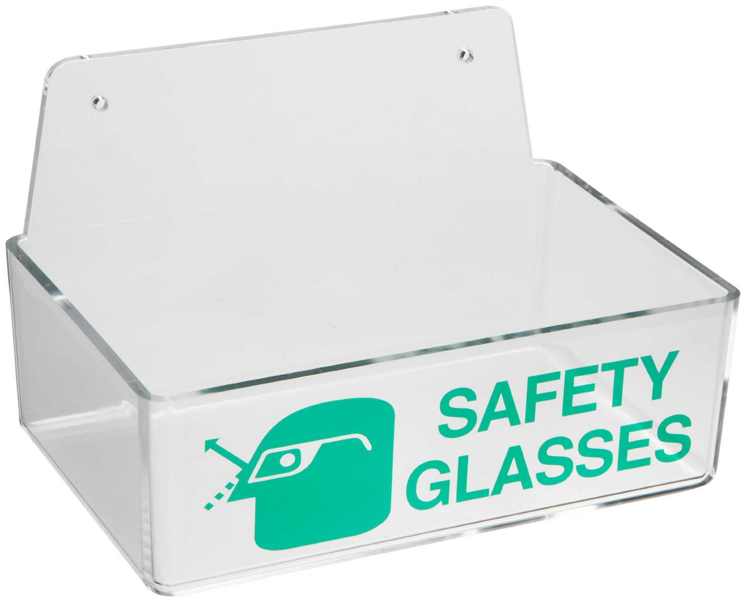 Brady Safety Glasses Holder - Green Text on Clear Plastic, Legend''Safety Glasses'' - 3'' Height, 9'' Width, 6'' Depth - 45234