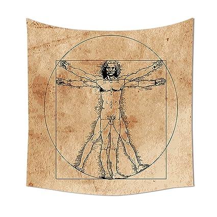 Anatomía Humana tapiz Medieval hombre de Vitruvio crosshatching ...