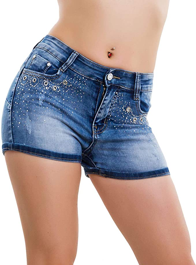 Toocool Jeans Donna Pantaloncini Shorts Skinny Elastici Aderenti Strass Push up W0385