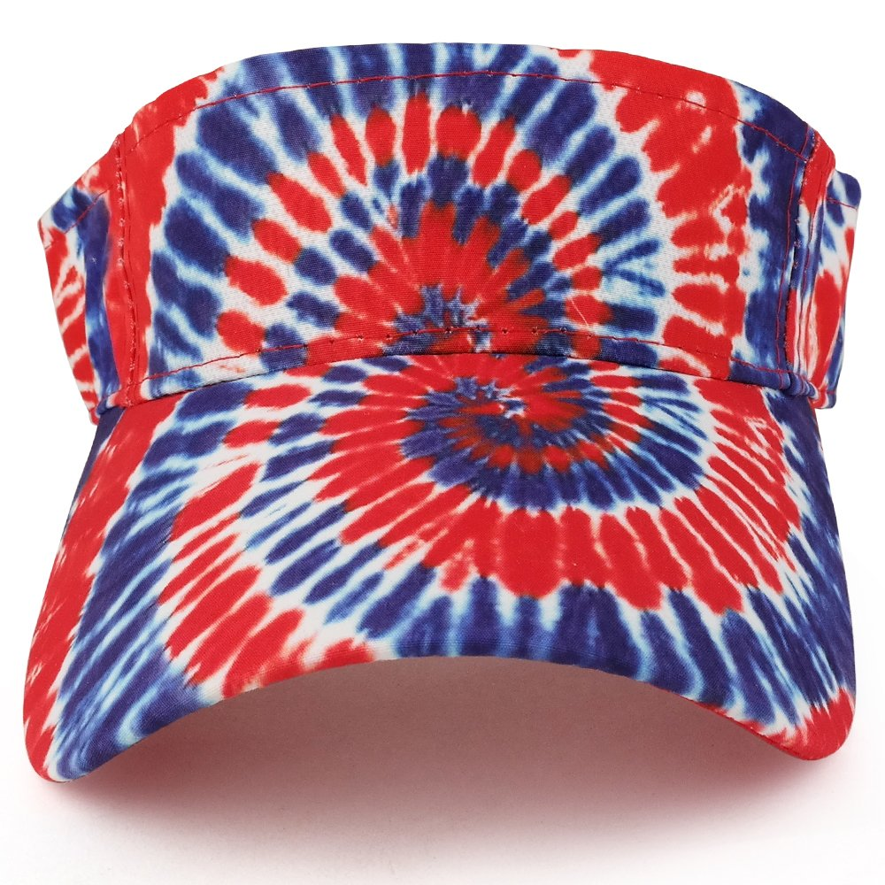 Trendy Apparel Shop Hippy Tie Dye Printed Colorful Cool Summer Visor Cap - Red Royal by Trendy Apparel Shop (Image #2)