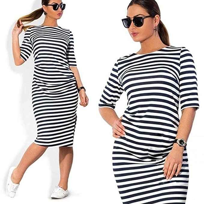 Gotd Fashion Women Striped O-Neck Casual Dress Plus Size at Amazon ...