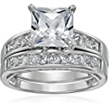 Platinum Plated 925 Sterling Silver AAA Cubic Zirconia Princess Solitaire Ring with Princess-Cut Side Stones and Princess-Cut Bridal Set Wedding Band