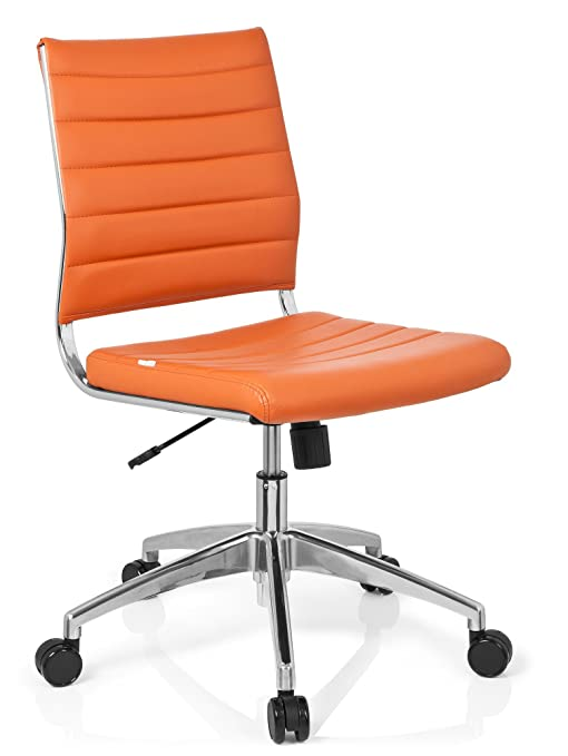 hjh OFFICE 720011 silla de oficina TRISHA piel sintética naranja, aluminio pulido, base estable, inclinable, silla giratoria, silla escritorio