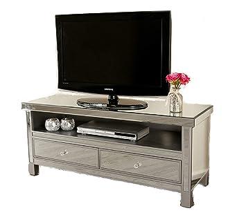 Venetian Mirrored Tv Stand Entertainment Unit Glass Amazon Co Uk
