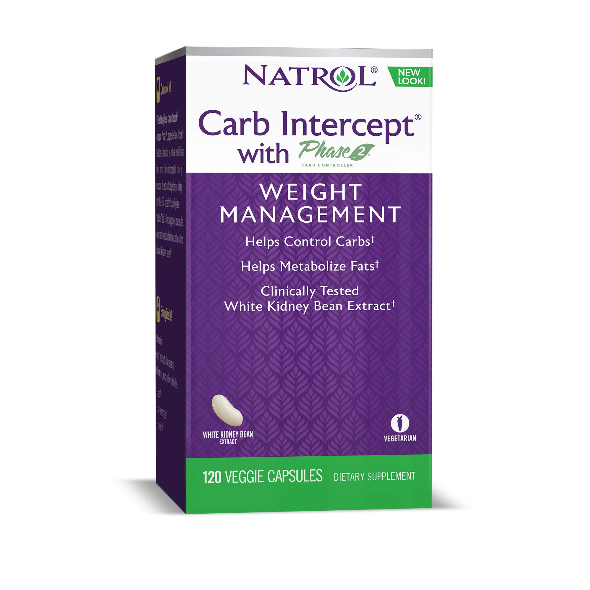 Natrol Carb Intercept with Phase 2 Carb Controller Capsules, White Kidney Bean Extract, Helps Control Carbs, Helps Metabolize Fats, Clinically Tested, Promotes Healthy Body Weight, 1,000mg, 120 Count