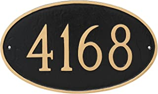 "product image for Montague Metal 6"" x 10"" Classic Oval Address Sign Plaque, Small, Sand/Silver"