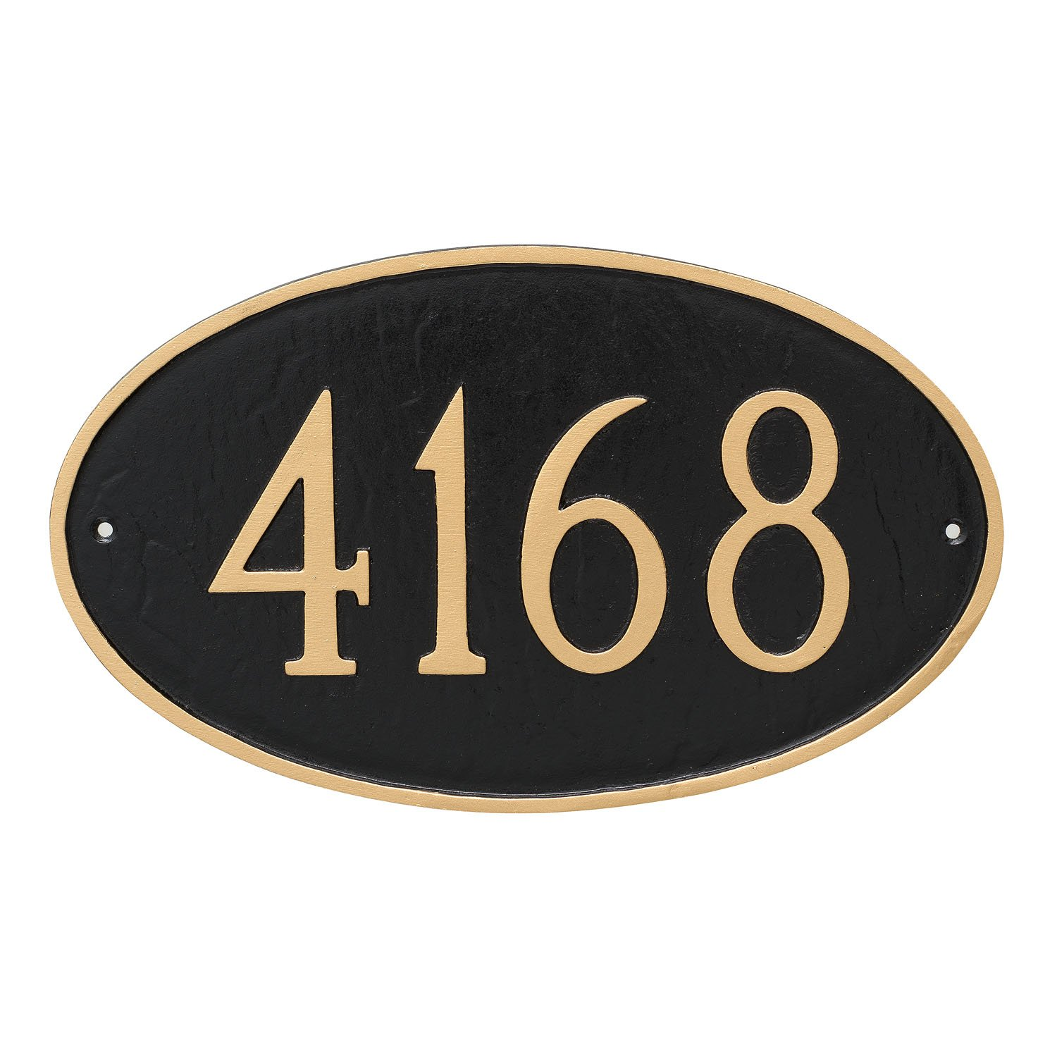 "Montague Metal 6"" x 10"" Classic Oval Address Sign Plaque, Small, Aged Bronze/Gold"