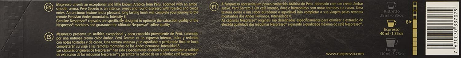 Nespresso Perú Secreto 2015 (Intensity 8) - 50 Capsules (50 Count): Amazon.com: Grocery & Gourmet Food