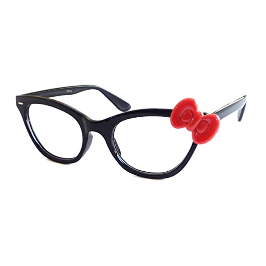 887e4ca73 Image Unavailable. Image not available for. Color: HELLO KITTY Style Women  Nerd Cat Eye Trendy Frame Clear ...