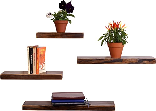 DAKODA LOVE Weathered Edge Floating Shelves USA Handmade Wall Mounted Hidden Single Bar Floating Shelf Bracket Farmhouse Rustic Pine Wood Set of 4 Espresso, 24 , 20 , 16 , 12 L x 5.25 D