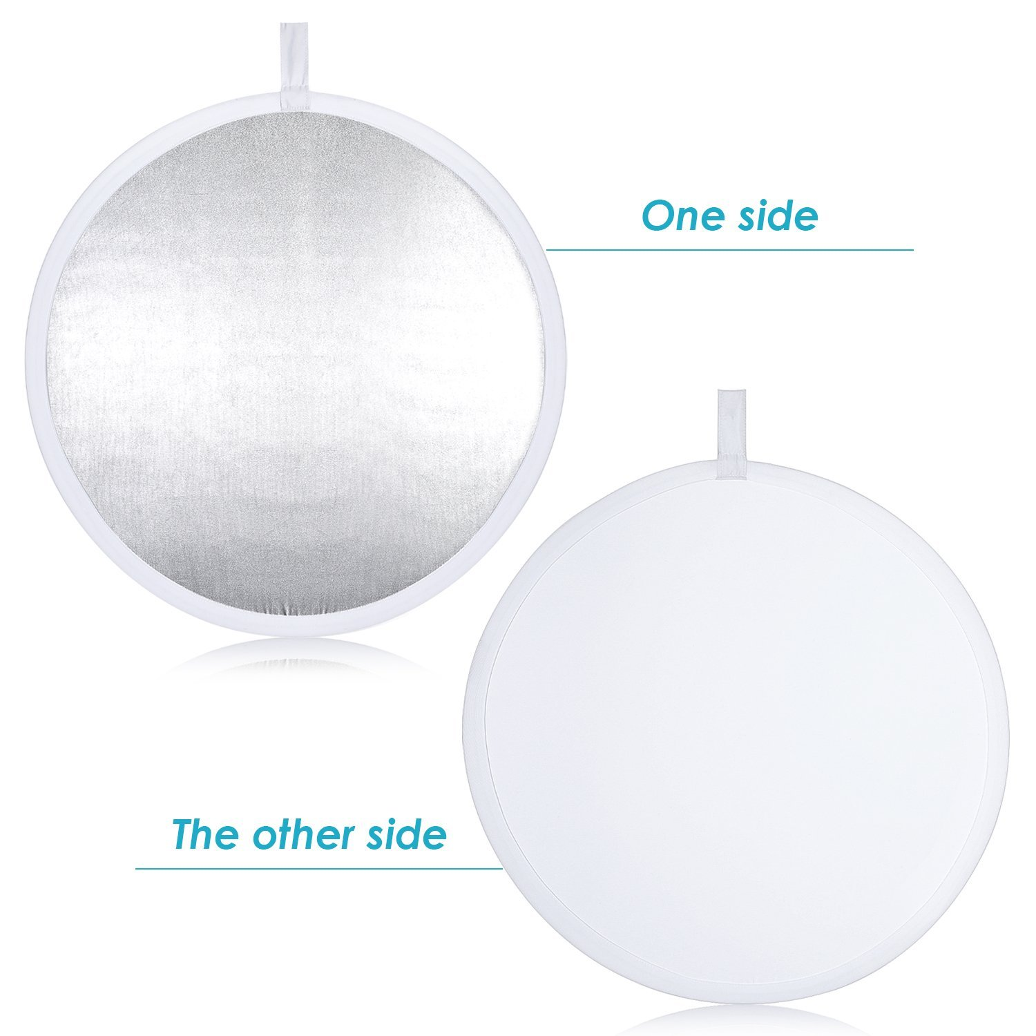 Neewer® Pro 2-in-1 32''/80cm Round Collapsible Reflector Diffuser White/Silver for Photography and Video Shooting with A Carrying Pouch