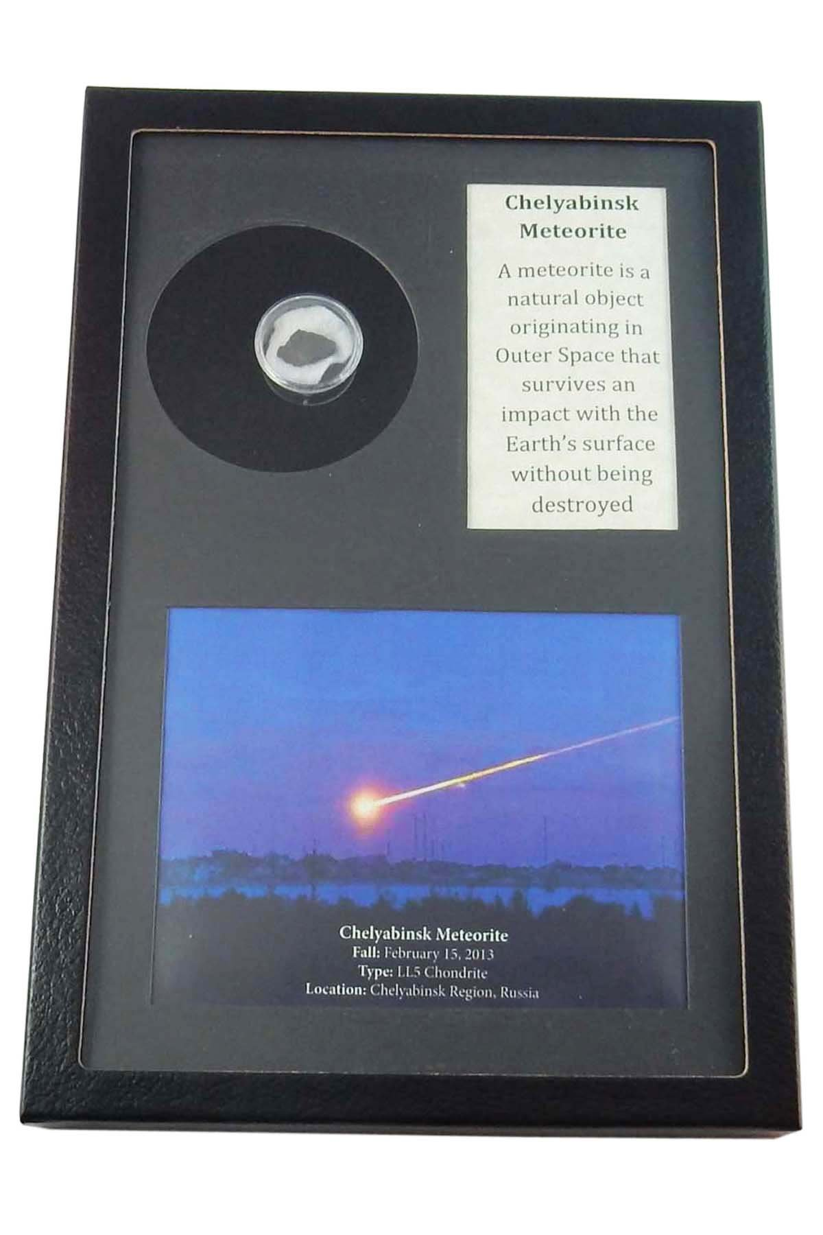 Authentic Meteorite Piece From Chelyabinsk in Round Acrylic Holder within a RIker Display Frame with Beverly Oaks Excusive Certificate of Authenticity