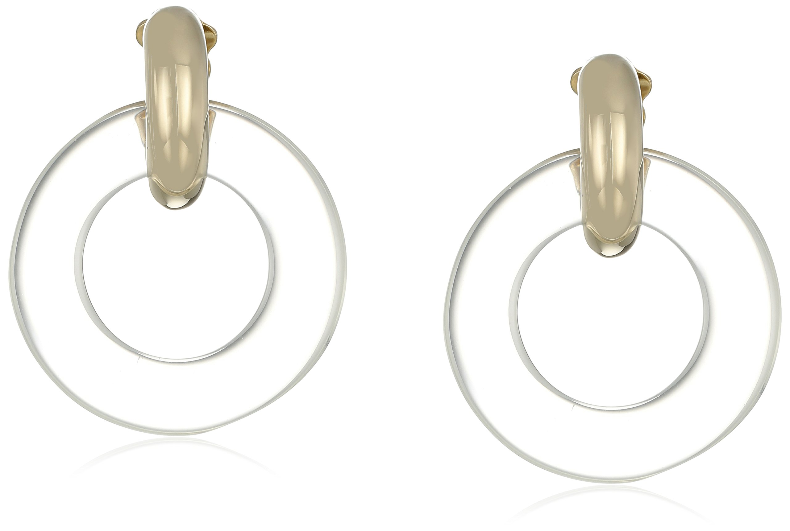 Kenneth Jay Lane Gold Top with Clear Doorknocker Clip-On Earrings