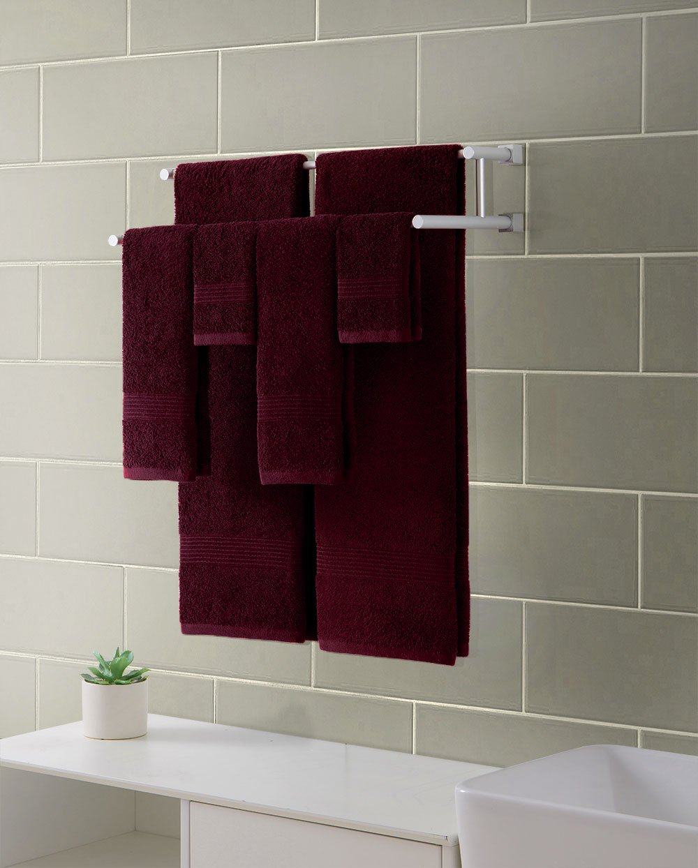 Ribbed Luxury Bath Towel 6 Piece Set 100% Cotton, Burgundy Red (2 Bath Towels 54'' x 27'', 2 Hand Towels 28'' x 16'' and 2 Wash Cloths 13'' x 13'') by HowPlumb (Image #4)