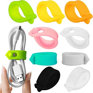 ELFRhino Cord Organizer Reusable Cable Straps Clips Wire Ties Charging Cord Power Cord Earphone Headphone Wrap Multipurpose Winder Holder Keeper Manager Management(Set of 9)