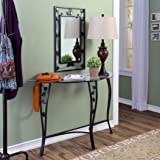 Entryway Table and Mirror Set Console Hall Decor Furniture Includes a Tempered Glasstop with Black Metal Finish Scroll Leaf Trim Design