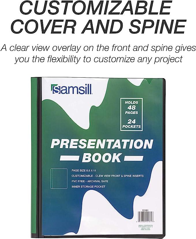 24 Pocket Protectors Bound Together 48 Page Capacity//Report Cover 8.5 x 11 Sheet Protector Folder Samsill Presentation Folder//Portfolio Folder//Art Portfolio