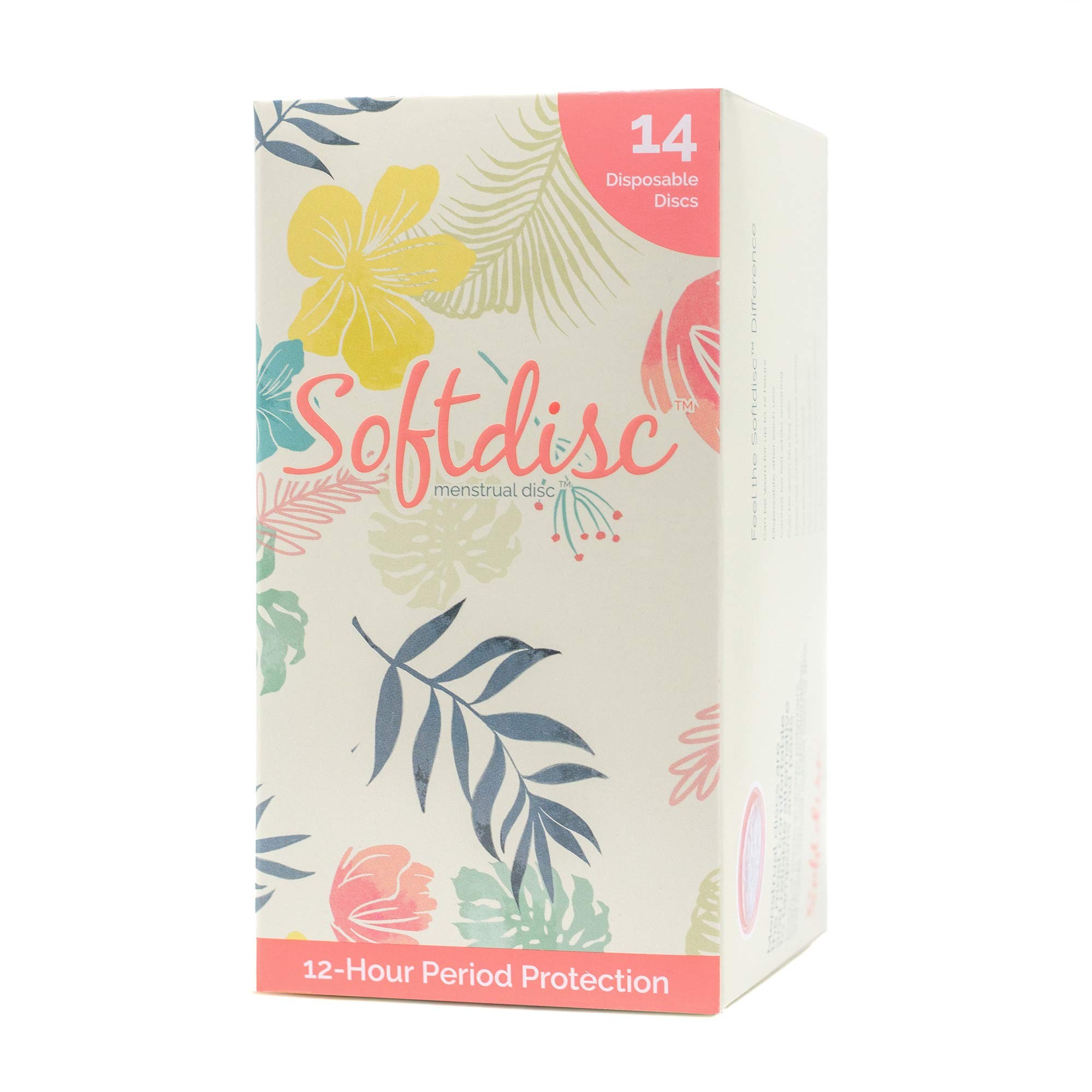 SOFTDISC - Menstrual Discs - Non-Reusable, Disposable Softcups - Enjoy up to 12 Hours of Protection - Fewer Period Cramps, Tampon and Menstrual Cup Alternative for Active Women 14 Disc Per Box by Softcup