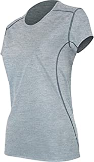 product image for Polarmax AYG Women's Micro H1 Short Sleeve Crew Casual Shirt, Grey Heather, L