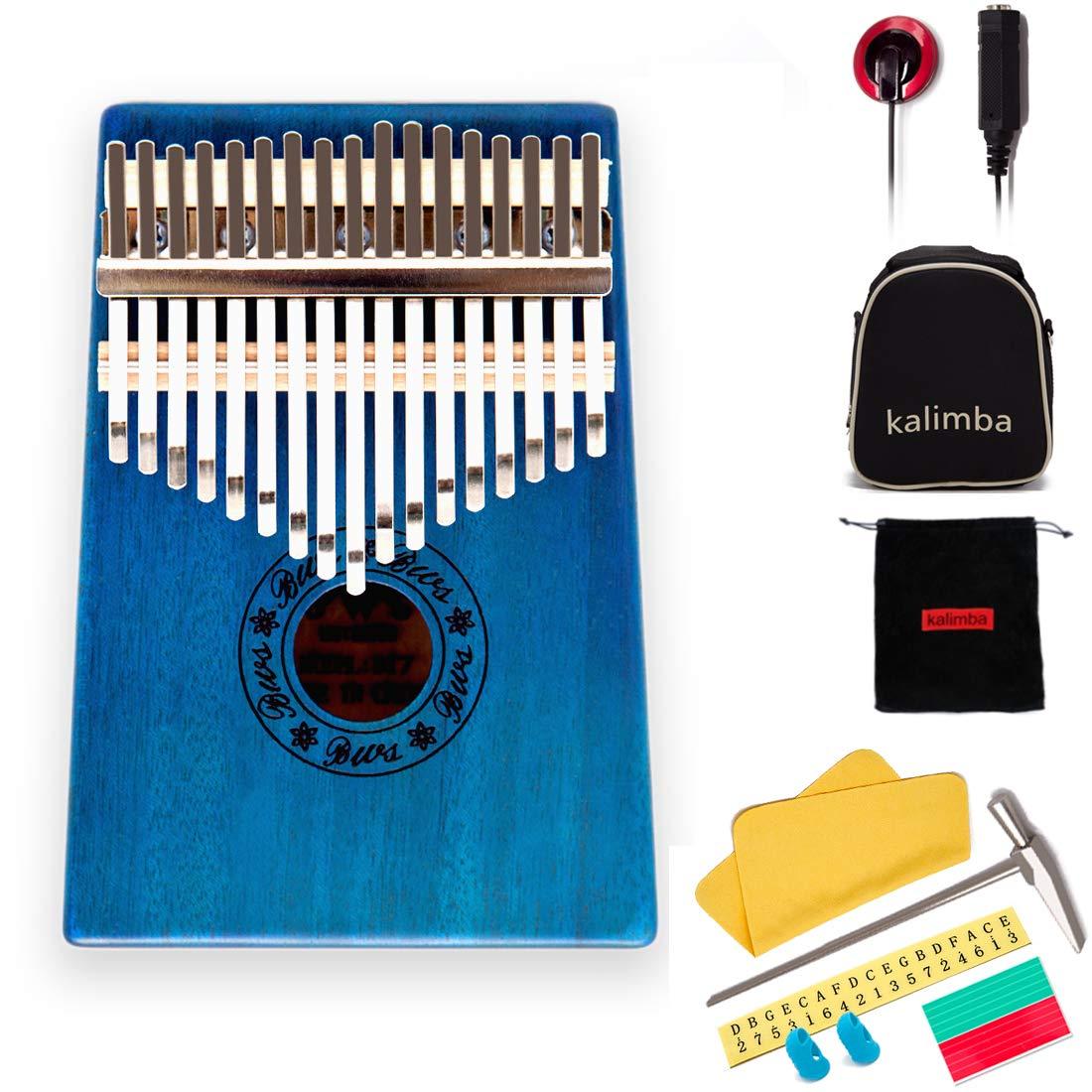 17 Keys Kalimba Thumb Piano Mbira Sanza Mahogany Body, with Multifunctional pickupsand Tune Hammer, for Beginners and Advanced Players suylngla
