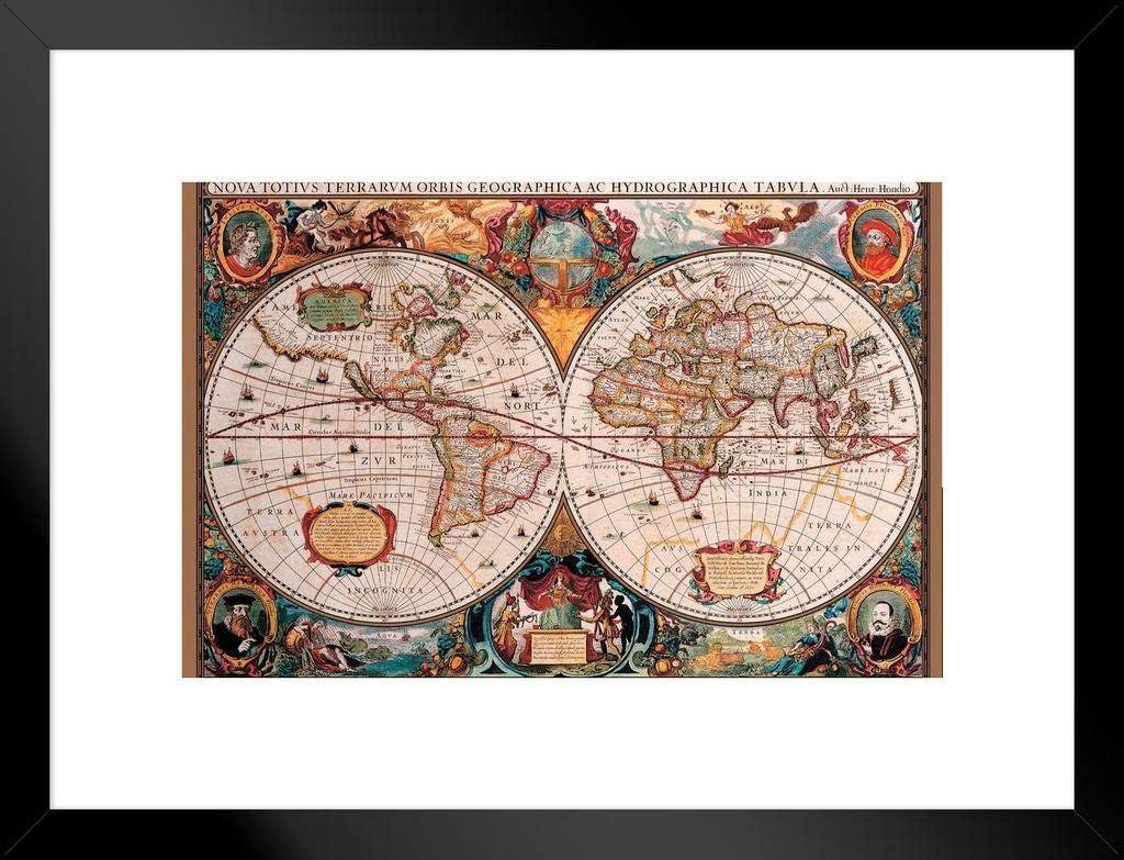 Pyramid America World Map 17th Century Black Wood Framed Poster 20x14