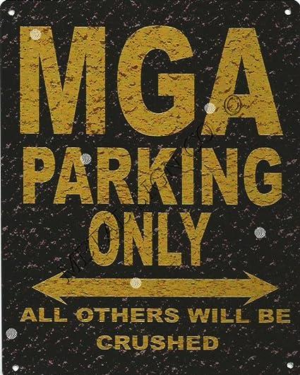 MGA  METAL PARKING SIGN RETRO VINTAGE STYLE car shed garage workshop