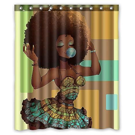 Bathroom Waterproof Fabric Shower Curtain African Women Daily Life Hooks Mat Set