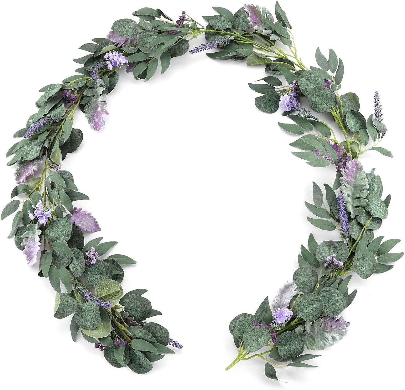 Ling's Max 55% OFF moment Artificial Eucalyptus Garland f Lilac Purple Department store Rose