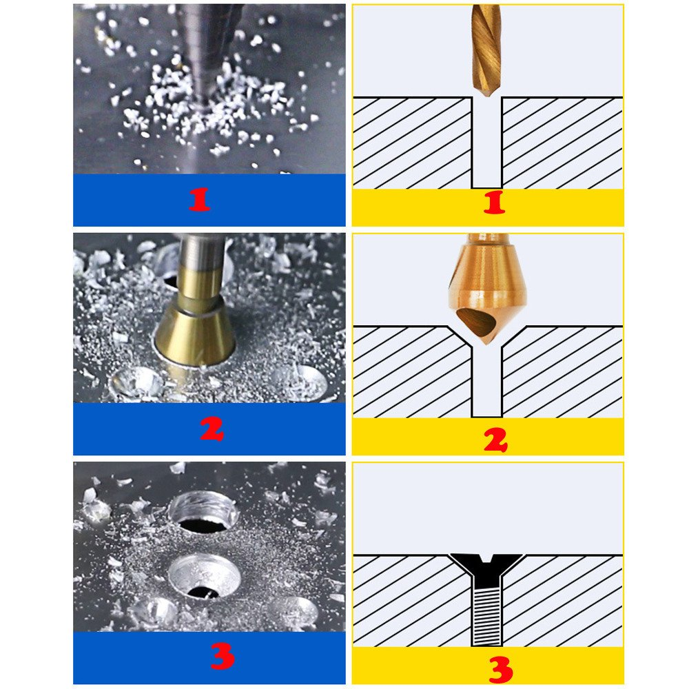 3 PCS HSS Countersink Deburring Drill Bit Hand Tool Cutting Through Wood Faucets Easter Accessories Gifts Drill Bit