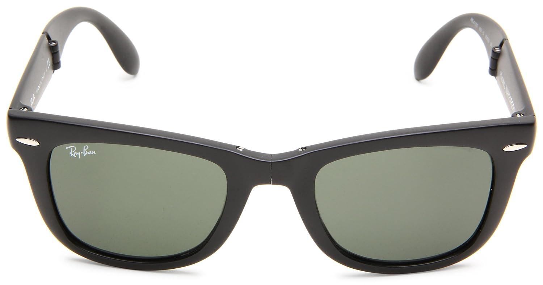 ray ban folding wayfarer sunglasses lite tort  ray ban unisex adults mod. 4105 sunglasses, black, size 50: rayban: amazon.co.uk: clothing