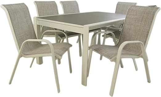 Edenjardi Conjunto para terraza, Mesa Extensible 160/210 y 6 sillones apilables, Aluminio Reforzado Blanco, Textilene taupé Jaspeado, 6 plazas: Amazon.es: Jardín