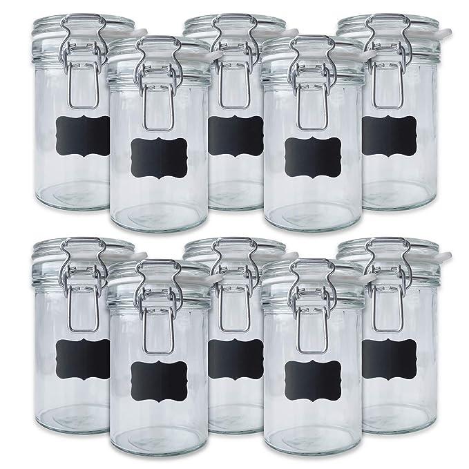 Creative Home 10 x Tarros de Cristal Herméticos con Tapa | 10 x ...