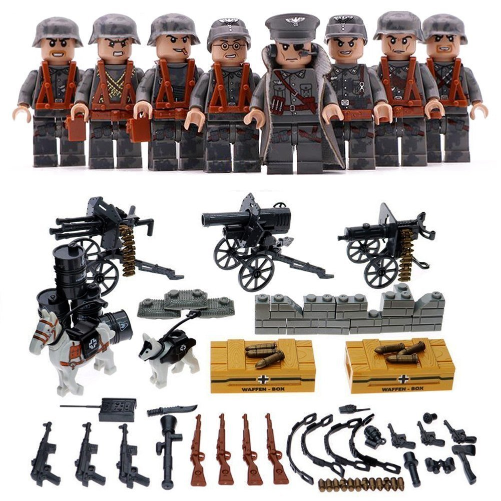 Real Minifigures Set - 8pcs Army Minifigures soldier with Military Weapons Accessories Soldier Minifigures Toys Building Blocks 100% Compatible