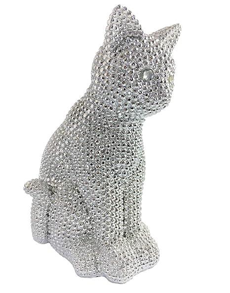 Beyond Porcelana Gato Figura para decoración de hogar, Animales Estatua de Porcelana, Plata Acabado