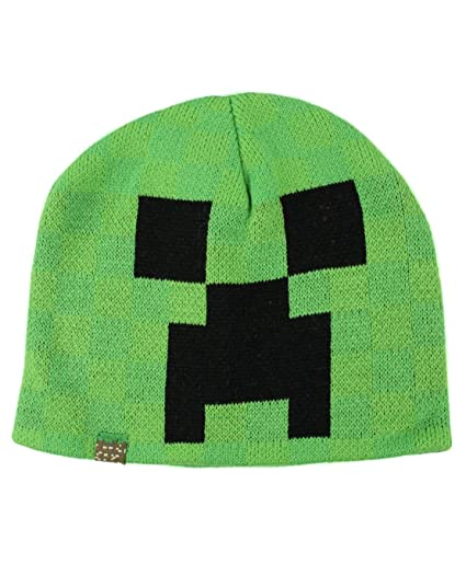 JINX Minecraft Creeper Face Knit Beanie (Green, S/M)