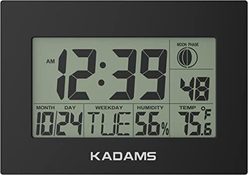 KADAMS Digital Wall Clock with Alarm, Seconds Counter, Snooze, Calendar Date Day, Indoor Temperature, Humidity, Moon Phase, Large Display, Shelf and Desk Clock Stand, Non Atomic, No Backlight – Black