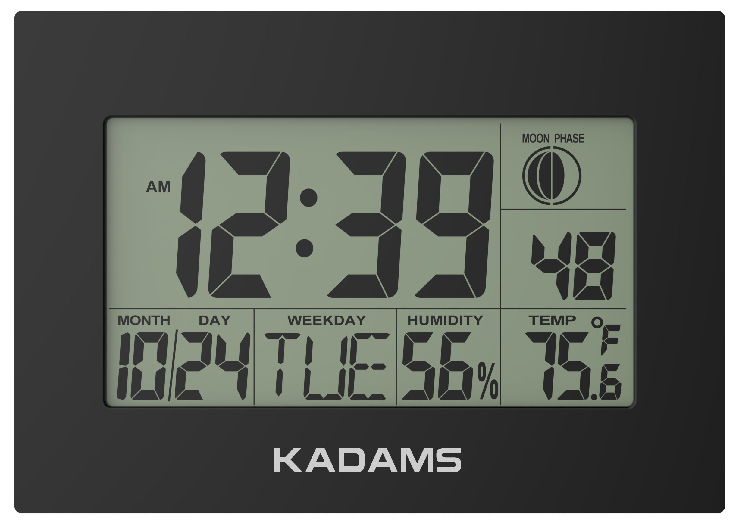 KADAMS Digital Wall Clock with Alarm, Seconds Counter, Snooze, Calendar Date Day, Indoor Temperature, Humidity, Moon Phase, Large Display, Shelf and Desk Clock Stand, Non Atomic, No Backlight - Black by KADAMS