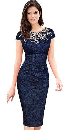 0108c99ed62e BELLA Vestito Donna Pizzo Abito Slim con Fiore Rosa Cocktail Vestito Blu  Busto 102cm: Amazon.it: Abbigliamento