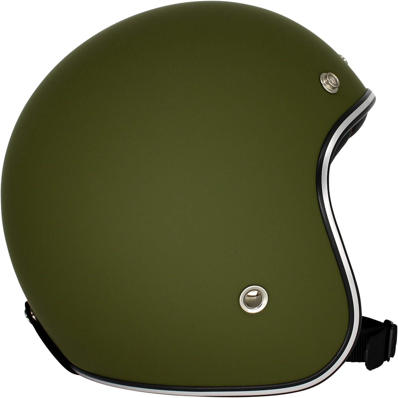 Roller-Helm f/ür Frauen und Herren im edlen Vintage-Look Jet-Helm mit Sonnen-Visier ORIGINAL Fr/äulein Irmi Retro Vespa-Helm armygr/ünmatt XS Qualit/ät nach ECE-Norm