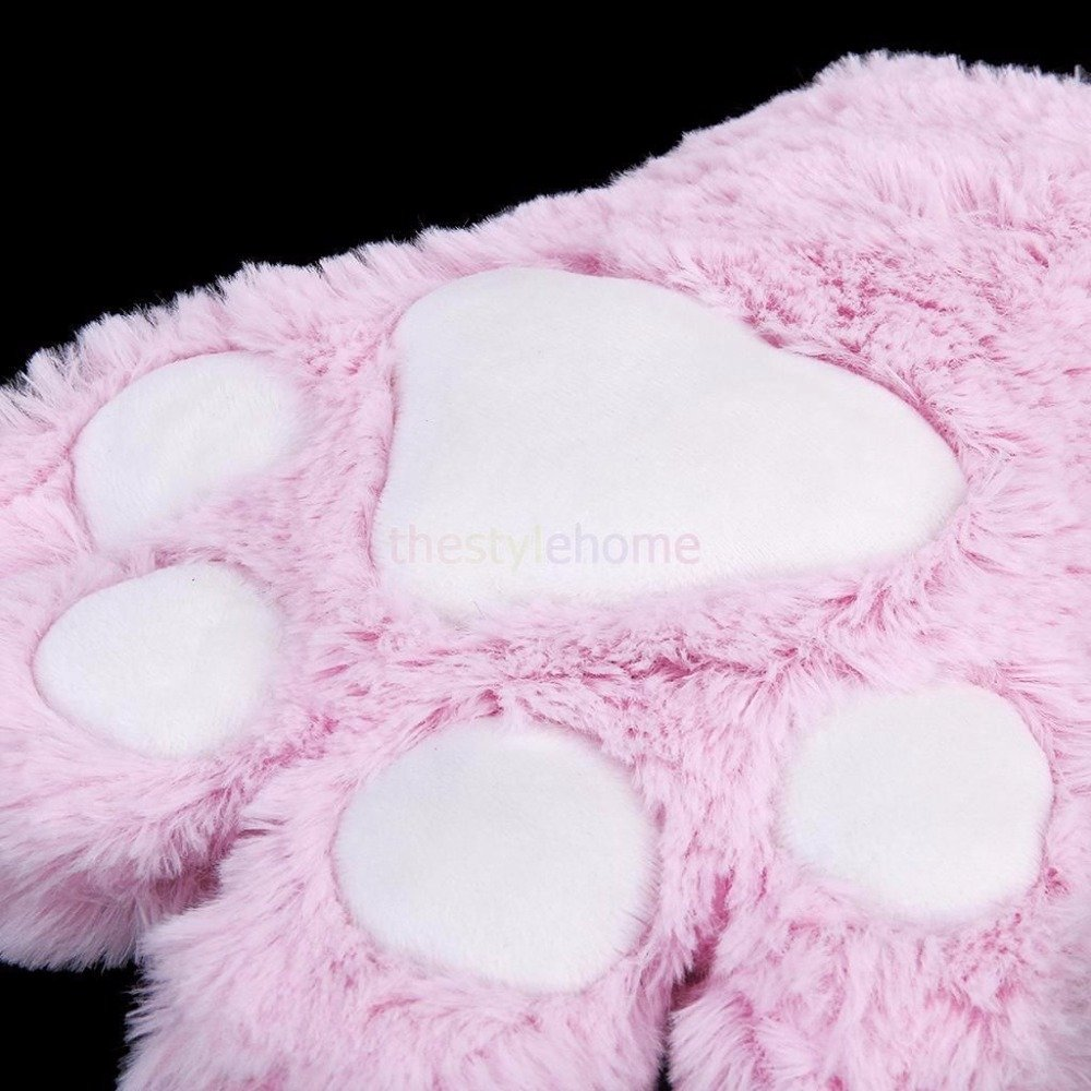 Wall of Dragon 1 Pair Cute Bear Cat Kitten Paw Claw Gloves Soft Anime Cosplay Plush for Halloween Party Women Accessories 5 Colors