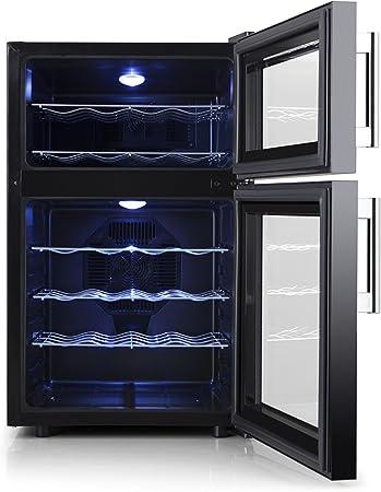Orbegozo VT 2410 Vinoteca de 24 botellas, dos zonas de temperatura, 140 W de potencia, 52 litros de volumen, display digital, panel de control táctil, iluminación LED, 68 litros, Metal, Negro