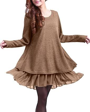 ZANZEA Jersey Mujer Invierno Largo Vestidos de Encaje para Vestido Lazo Elegant Fiesta de Noche Suéter Suelta