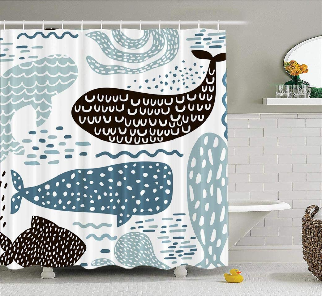 LILYMUA Kids Shower Curtain Baby Black Fish Abstract Sea Animal Whale Octopus Childish 72x78 Inch Fabric Bathroom Shower Curtain Rustic Waterproof Bath Curtain for Bathroom Decor