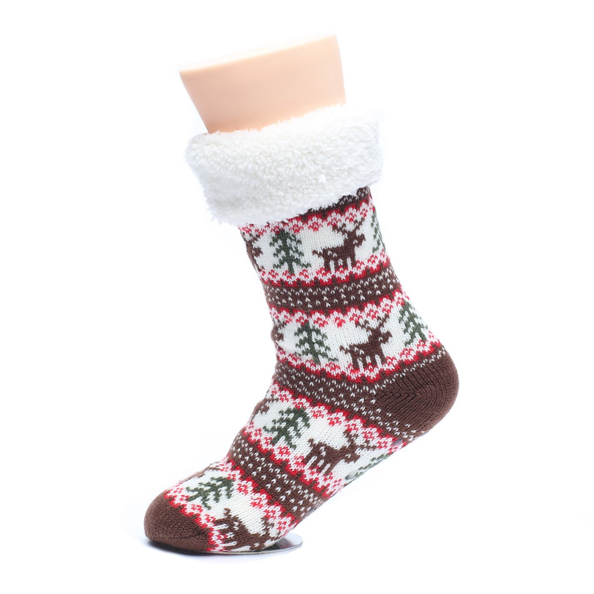 b62f8c62abba8 Ofoot Womens Winter Thermal House Slipper Socks, Fuzzy Fleece-Lined Knitted  Christmas Stockings, Non- Skid Sole at Amazon Women's Clothing store: