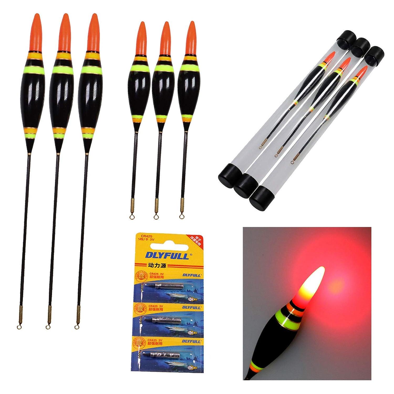 Thkfish Flotteurs De P/êche,3pi/èces 3.5g 4g 6.5g /Électronique LED Flotteurs De P/êche Bobbers Lumineux Balsa Bois /Éclairage Bobbers Flotteurs De P/êche