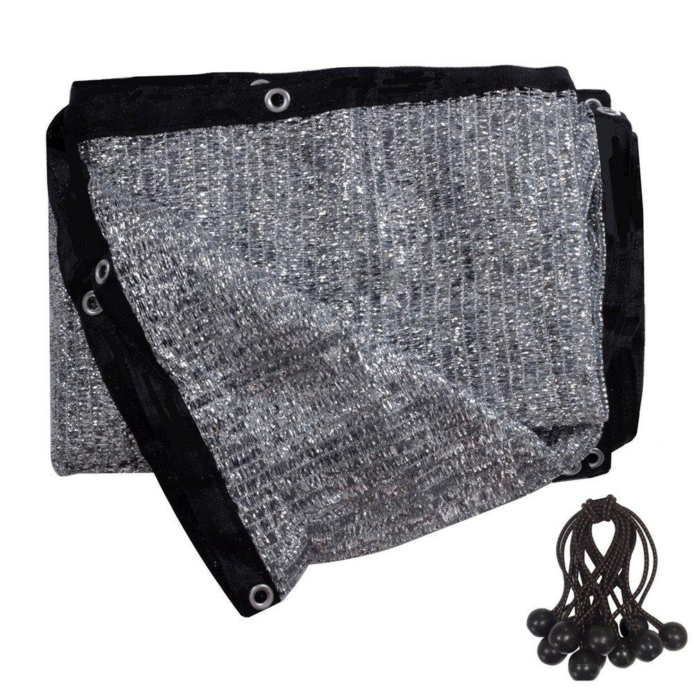 soclerg 70% Aluminet Shade Cloth 13 ft x 16 ft-Fabric Sun Block Sun Reflect-FREE 12pcs 6'' BALL BUNGEE