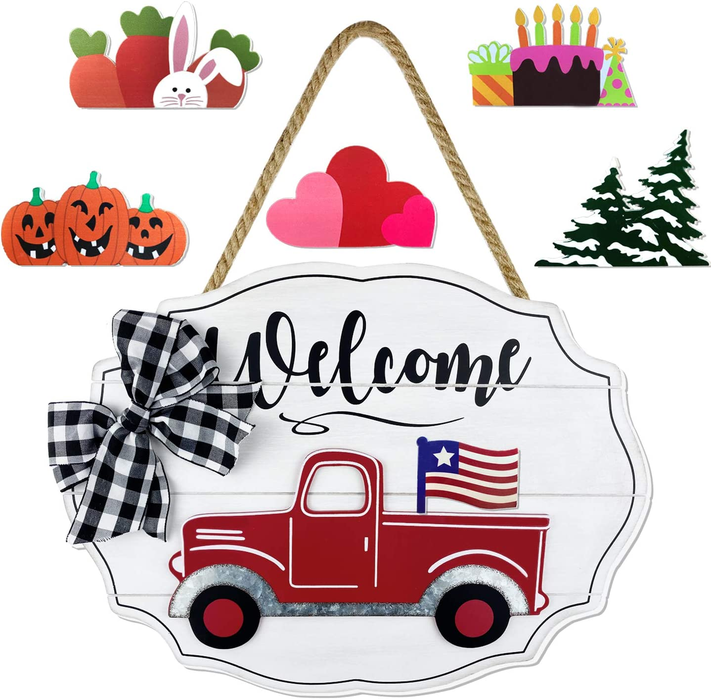 Red Truck Welcome Sign Front Porch Home Decor Wall Hanging Seasonal Interchangeable Farmhouse Wooden Door Decoration Sign for Holiday Spring Valentine's Day Easter Independence Day Christmas - White