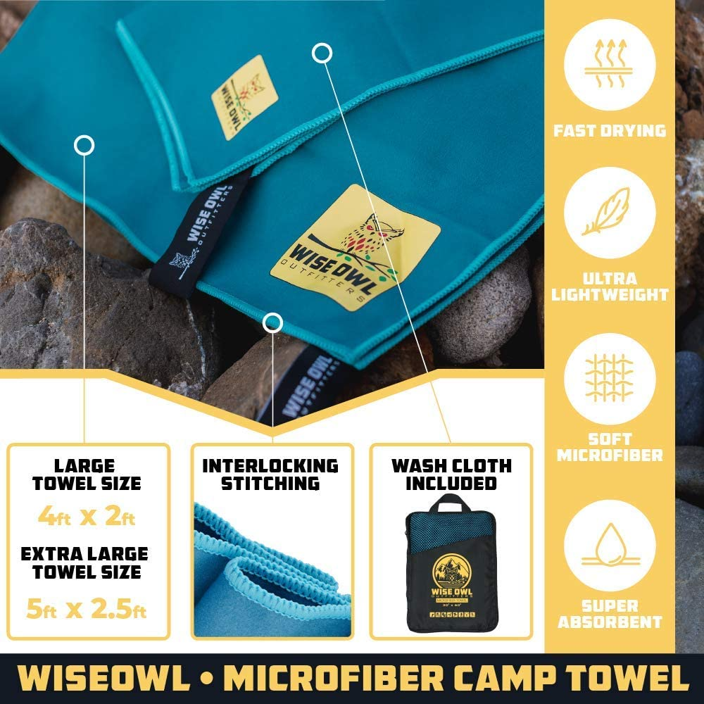 Wise Owl Outfitters Camping Travel Towel - Ultra Soft Compact Quick Dry Microfiber Fast Drying Fitness Beach Hiking Yoga Travel Sports Backpacking : Sports & Outdoors