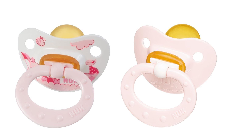Nuk 710109 - Chupetes de látex (2 unidades, T2), color rosa